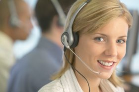 Portrait of a Telephonist Working in a Call Centre