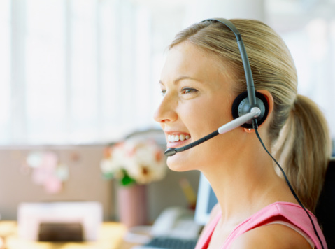 side profile of a businesswoman wearing a headset
